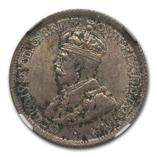 1913 British West Africa Silver 6 Pence George V MS-63