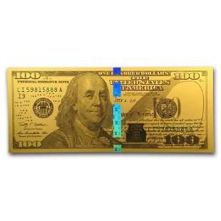 1 gram Gold Note - $100 Replica (Benjamin Franklin