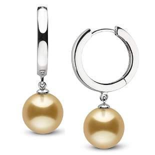 Golden South Sea Pearl High-Polish Huggie Hoop Earrings