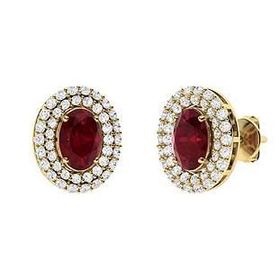 2.86 CTW Ruby & Diamond Halo Earrings 14K Yellow Gold