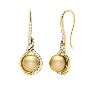 2.27 CTW Golden Pearl & Diamond Drops Earrings 14K