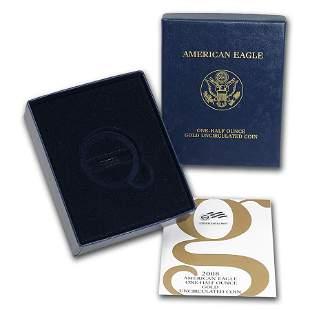 OGP Box & COA - 2008 (W) 1/2 oz Burnished Gold American