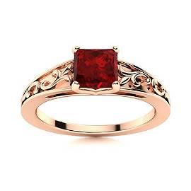 Natural 1.10 CTW Garnet Solitaire Ring 18K Rose Gold