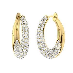 2.54 CTW Diamond Hoops Earrings 18K Yellow Gold