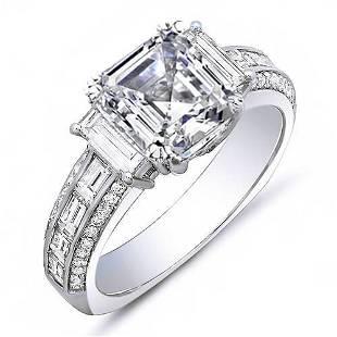 Natural 2.22 CTW Empire Asscher Cut Diamond Engagement