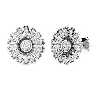 1.16 CTW Diamond Halo Earrings 18K White Gold