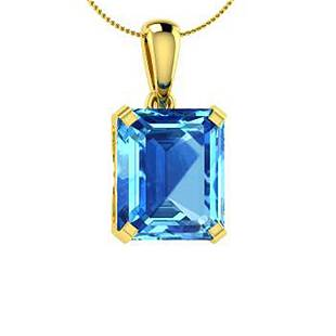 7.06 ctw Sky Blue Topaz Necklace 18K Yellow Gold