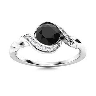 Natural 0.75 CTW Black & White Diamond Engagement Ring