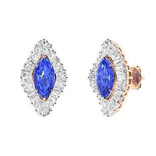 2.68 CTW Ceylon Sapphire & Diamond Halo Earrings 14K