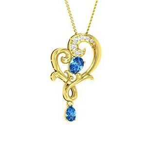 1.67 ctw Topaz & Diamond Necklace 14K Yellow Gold