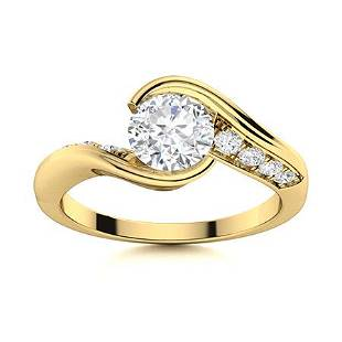Natural 1.46 CTW Diamond Solitaire Ring 14K Yellow Gold