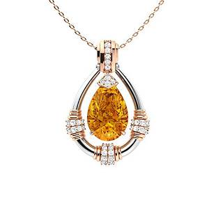 2.76 ctw Citrine & Diamond Necklace 18K Rose Gold