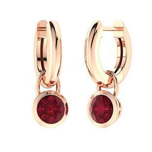 2.66 CTW Ruby Drops Earrings 14K Rose Gold