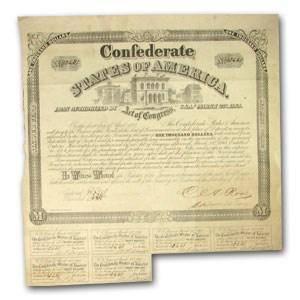 1863 $1000 CSA Bond 6%/5 yr Old Customs House (CR-130A)