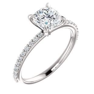Natural 1.77 CTW Cushion Cut Solitaire Diamond Ring