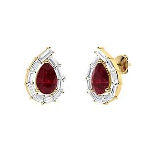2.1 CTW Ruby & Diamond Halo Earrings 14K Yellow Gold