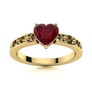 Natural 1.0 CTW Ruby Solitaire Ring 14K Yellow Gold