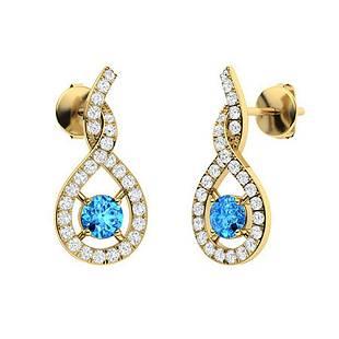 1.16 CTW Blue Topaz & Diamond Drops Earrings 18K Yellow
