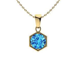 1.22 ctw Sky blue Topaz Necklace 14K Yellow Gold