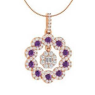 1.09 ctw Amethyst & Diamond Necklace 18K Rose Gold
