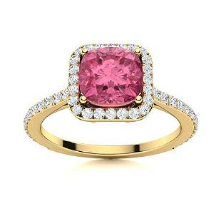 Natural 1.21 CTW Pink Sapphire & Diamond Engagement