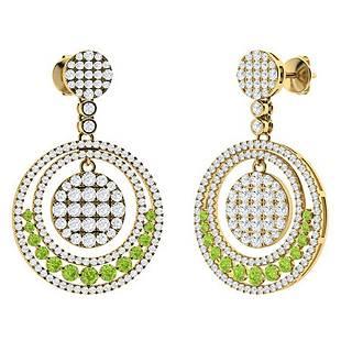 3.23 CTW Peridot & Diamond Chandelier Earrings 14K