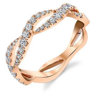 Natural 0.35 CTW Stackable Diamond Waves Infinity Ring