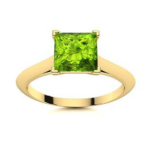 Natural 0.76 CTW Peridot Solitaire Ring 14K Yellow Gold