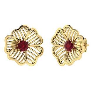 2.08 CTW Ruby Halo Earrings 18K Yellow Gold