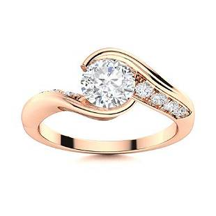 Natural 0.66 CTW Diamond Solitaire Ring 14K Rose Gold