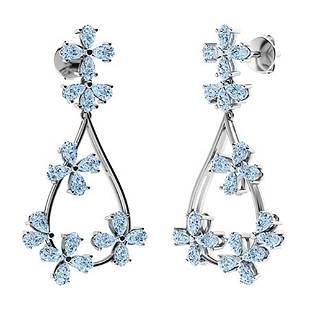 10.56 CTW Aquamarine Chandelier Earrings 18K White Gold