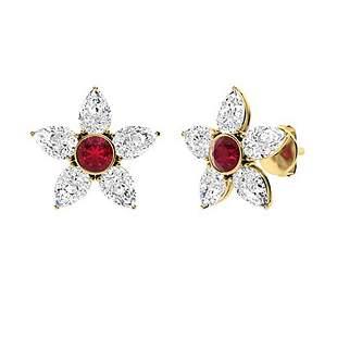 3.22 CTW Ruby & Diamond Halo Earrings 14K Yellow Gold