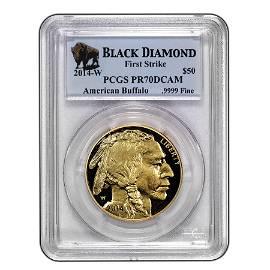 2014-W 1 oz Proof Gold Buffalo PR-70 PCGS (FS, Black