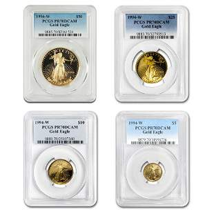 1994-W 4-Coin Proof American Gold Eagle Set PR-70 PCGS