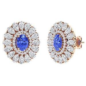 7.09 CTW Ceylon Sapphire Halo Earrings 14K Rose Gold