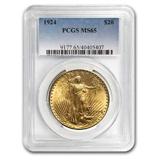 1924 $20 Saint-Gaudens Gold Double Eagle MS-65 PCGS