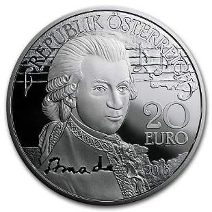 2016 Austria Proof Silver €20 Amadeus Mozart (The