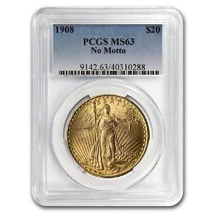 1908 $20 Saint-Gaudens Gold Double Eagle No Motto MS-63