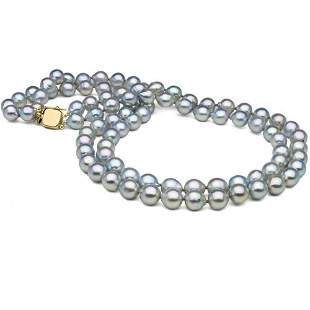 Natural-Color Baroque Blue Akoya Double-Strand Pearl