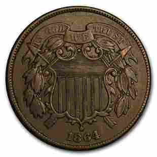 1864 Two Cent Piece Large Motto XF