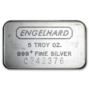 5 oz Silver Bar - Engelhard (Struck, Logo Reverse)