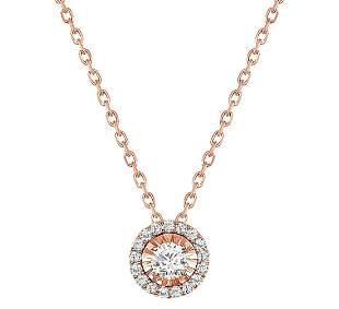 Natural 0.67 CTW Halo Diamond Pendant Necklace 14KT