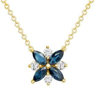 Natural 1.26 CTW Diamond & Blue Sapphire Necklace 14KT