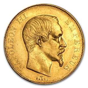 1855-1859 France Gold 50 Francs Napoleon III (Avg Circ)