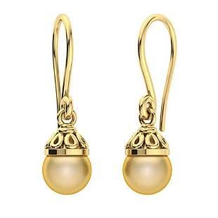 1.6 CTW Golden Pearl Drops Earrings 14K Yellow Gold