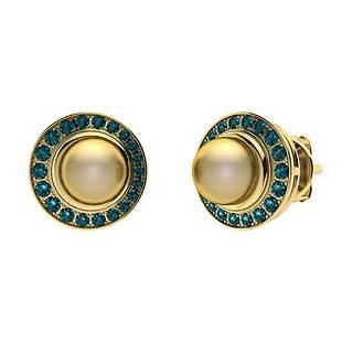 1.95 CTW Blue Diamond & Golden Pearl Halo Earrings 14K
