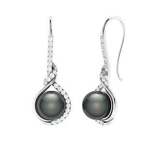 2.27 CTW Black Pearl & Diamond Drops Earrings 18K White