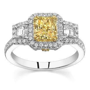 Natural 1.86 CTW Canary Yellow Radiant Cut 3-Stone Halo