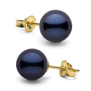 Black Akoya Pearl Stud Earrings, 7.0-7.5mm