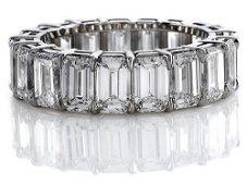 Natural 8.02 CTW Emerald Cut Diamond Eternity Ring 18KT
